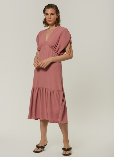 People By Fabrika Kadın Büzgü Detaylı  Elbise PFKSS21EL0073 Gül Kurusu
